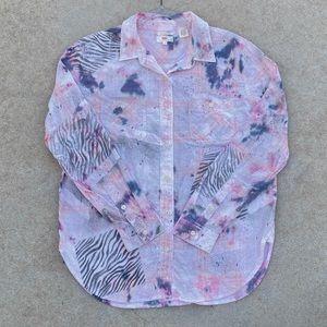 CUSTOM LEVI'S Zebra Bleach Color Tie Dye Shirt M